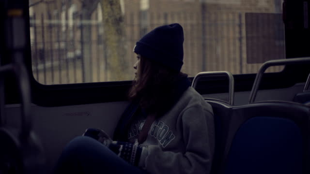 beautiful woman thinking on the bus - solitude stock videos & royalty-free footage