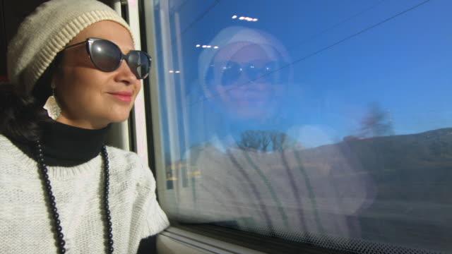 Beautiful woman traveling by train enjoying the view through the window