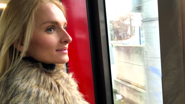 Beautiful woman traveling by train
