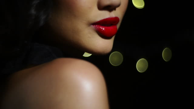 beautiful woman - red lipstick stock videos & royalty-free footage