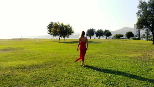 Beautiful Woman Walking Through Field