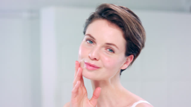 beautiful woman with fresh dewy skin. - short hair stock videos & royalty-free footage