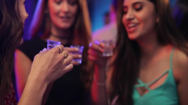 beautiful women drinking shots - nightclub stock videos & royalty-free footage