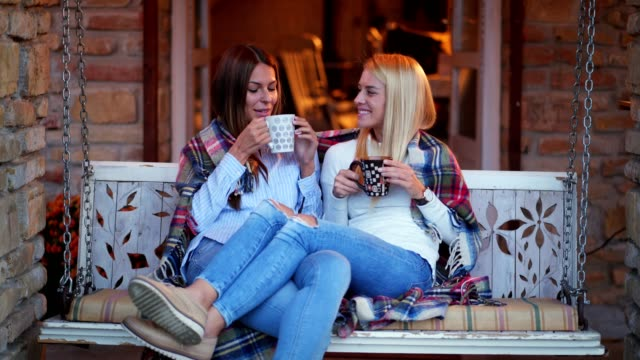 beautiful women enjoying morning coffee - front view stock videos & royalty-free footage