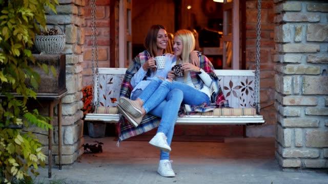 beautiful women enjoying morning coffee - drinking tea stock videos and b-roll footage
