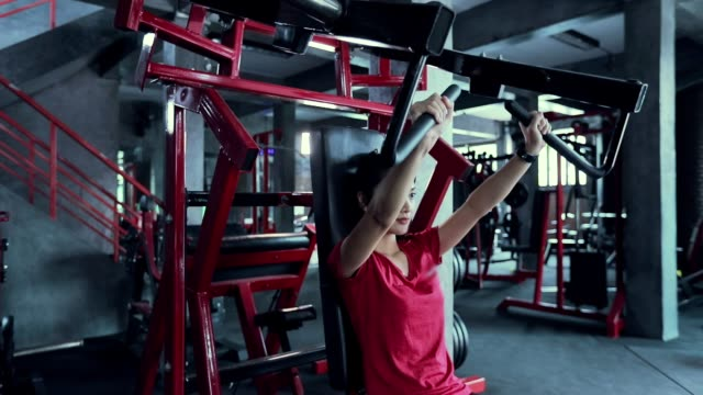 Beautiful women for exercising in the gym, slow motion