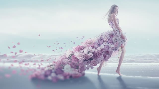 beautiful women in flower dress - fashion model stock videos & royalty-free footage