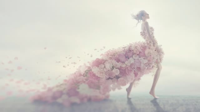 beautiful women in flower dress - prendersi cura del corpo video stock e b–roll