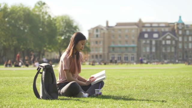 公園で本を読む美しい女性 - イングランド ケンブリッジ点の映像素材/bロール
