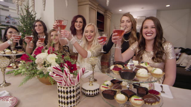 Beautiful women toast at a Holiday Christmas party