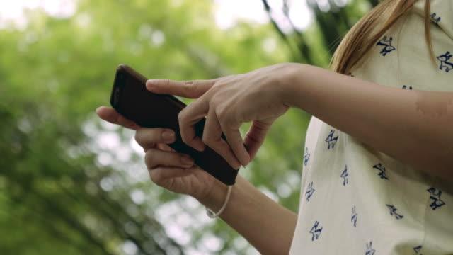 vidéos et rushes de cu: belles femmes à l'aide de smartphone à l'usine de bambou vert - bamboo plant