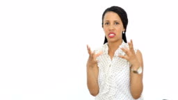 Beautiful young African American woman on white background talking and smiling to camera stock video