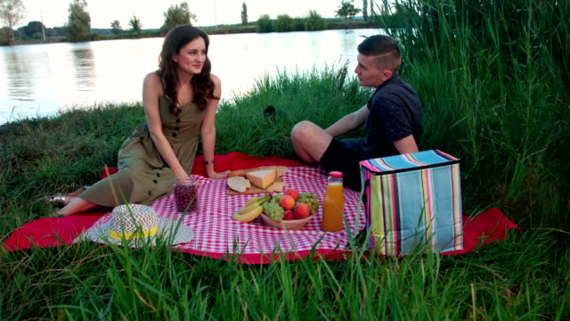 Beautiful young couple sitting on picnic blanket near river