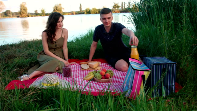 Beautiful young couple sitting on picnic blanket