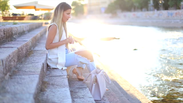 beautiful young fashion model - baggy jeans stock videos & royalty-free footage