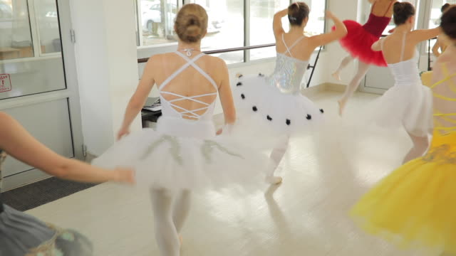 beautiful young girls ballet dancers practicing - small stock videos & royalty-free footage