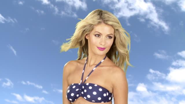 beautiful young woman in a bikini top - bikini top stock videos & royalty-free footage
