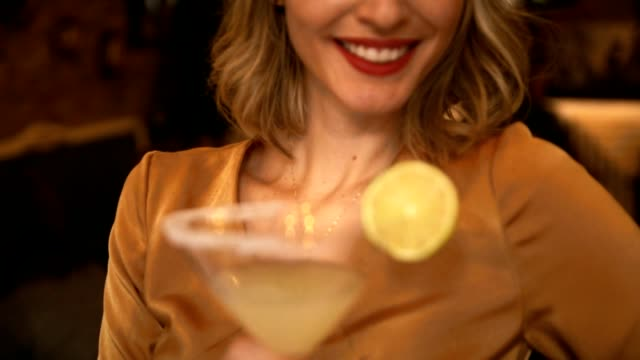 beautiful young woman in the bar - nightlife stock videos & royalty-free footage