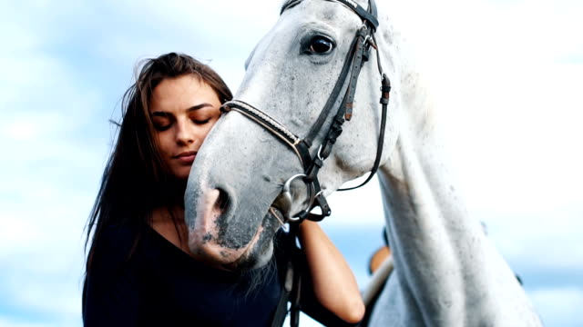 beautiful young woman petting horse in nature - horse stock videos & royalty-free footage