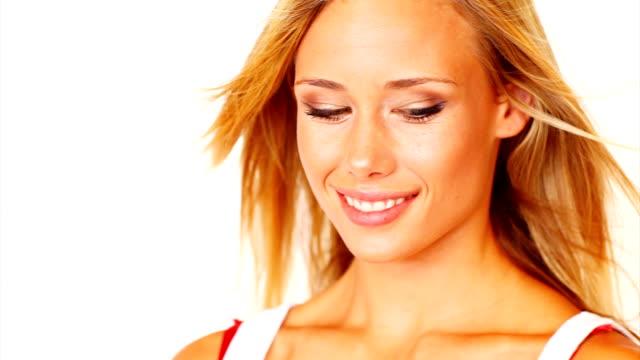 Schöne Junge Frau lächelnd Sinnlich