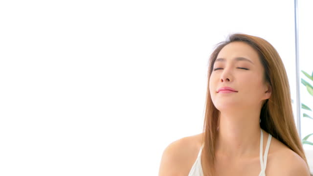 ms beautiful young woman with eyes closed - straight hair stock videos & royalty-free footage
