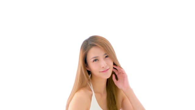 ms beautiful young woman with hand in hair - straight hair stock videos & royalty-free footage