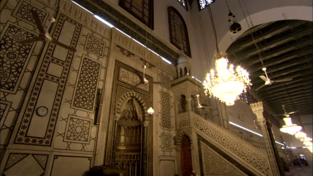 A beautifully carved pulpit stands in the Umayyad Mosque. Available in HD.