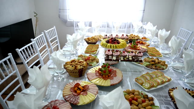 beautifully decorated catering banquet table - food and drink industry stock videos & royalty-free footage