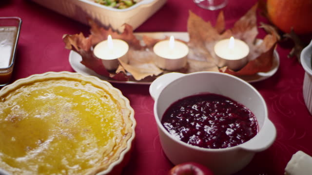 beautifully set thanksgiving table - breakfast table stock videos and b-roll footage