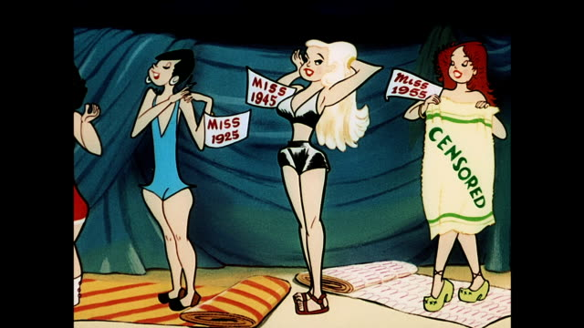 beauty contestants and bathing suits 1910-1955 - bikini stock videos & royalty-free footage