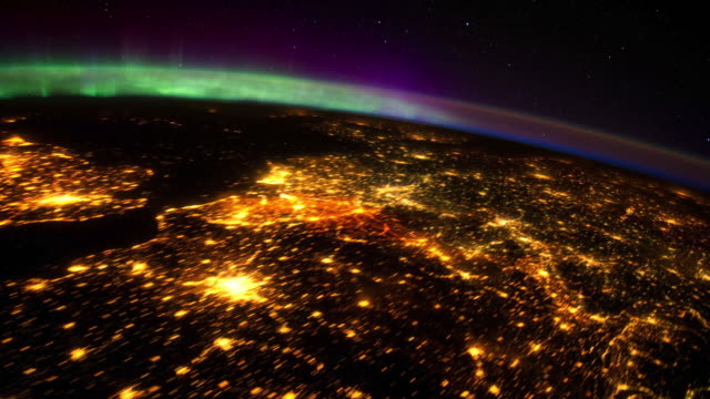 beauty of planet earth from the international space station (iss). colorful aurora borealis seen from space - viewpoint stock videos & royalty-free footage