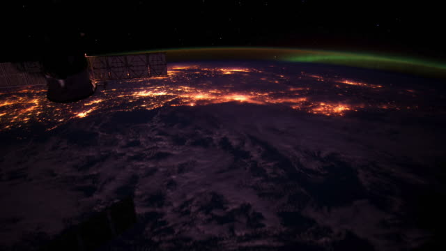 Beauty of Planet Earth from the International Space Station (ISS). Colorful Aurora Borealis Seen From Space