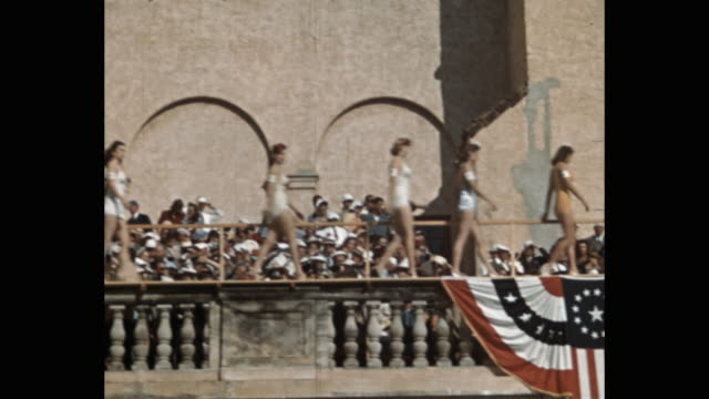 beauty pageant contestants in bathing suits walking in front of spectators, florida, usa - 1941 stock videos & royalty-free footage
