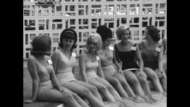 beauty pageant contestants sit poolside - beautiful people stock videos & royalty-free footage