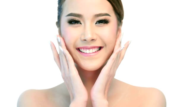 beauty portrait of woman beautiful face in skincare concept. - washing face stock videos & royalty-free footage