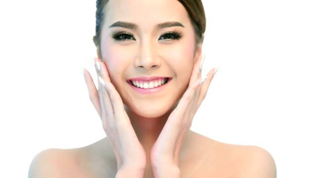 Schönheit Porträt von Frau schöne Gesicht Hautpflege-Konzept.