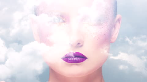 beauty portrait with double exposure - surrealism stock videos & royalty-free footage