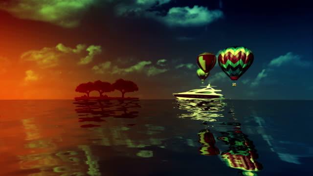 Schönheit Meer whith Schiff und Ballons