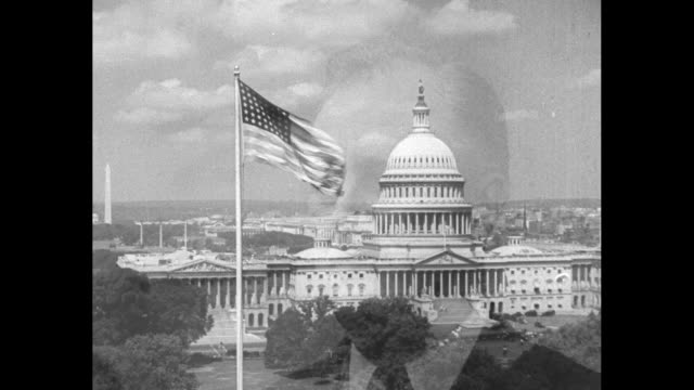 Beauty shot EXT US Capitol with US flag fluttering in breeze in fg superimpose/dissolve to Pres Franklin Roosevelt blinking rapidly / Pathe rooster...