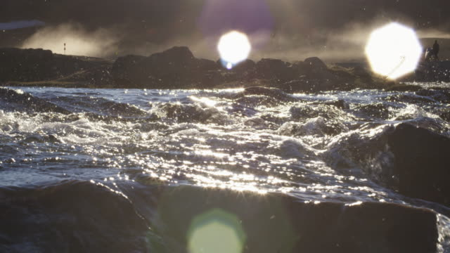 beauty shot of river rapids in canada at sunset, slow motion - rapid stock videos and b-roll footage