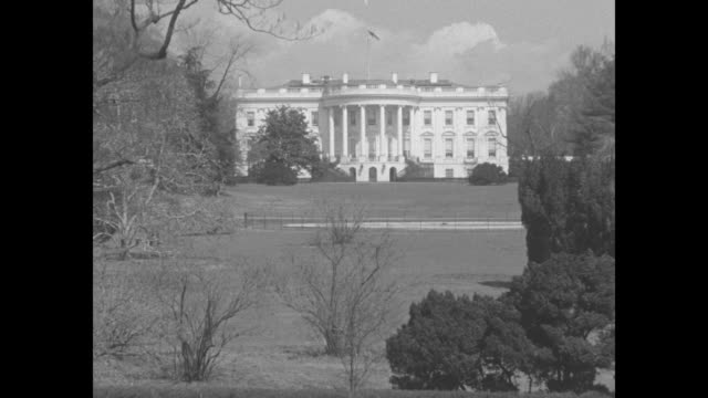 beauty shot the white house, with bare trees and some evergreens in fg / [shaky from this point on] vs white house grounds / special effect shot us... - special effect stock videos & royalty-free footage