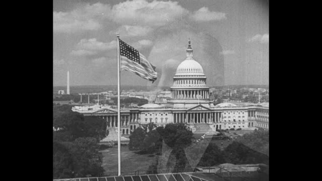 Beauty shot US Capitol with US flag fluttering in breeze in front / superimpose CU US President Franklin Roosevelt dissolve to Roosevelt / Note exact...
