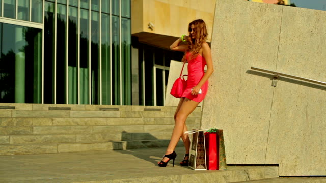 beauty woman on the stairs - mini skirt stock videos & royalty-free footage