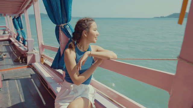 beauty woman traveling across the island on passenger boat. - south pacific ocean stock videos & royalty-free footage