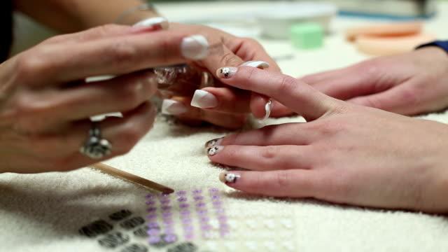 beauty women's nails. - beauty spa stock videos & royalty-free footage