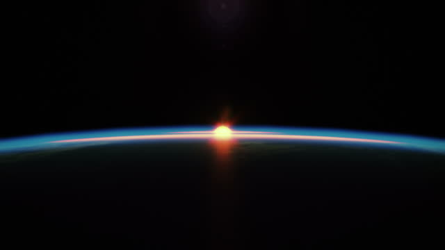 stockvideo's en b-roll-footage met beautyfull sunrise from space - zonsopgang