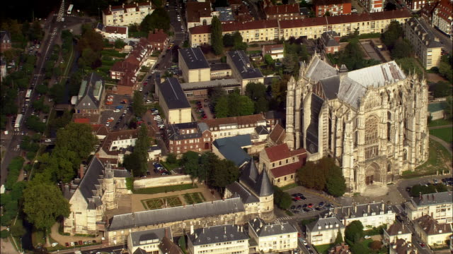 AERIAL Beauvais Cathedral and surrounding area/ Beauvais, France