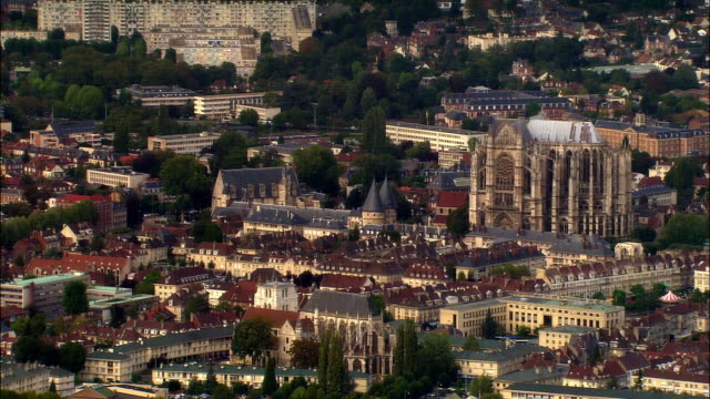 AERIAL Beauvais Cathedral and surrounding town/ Beauvais, France
