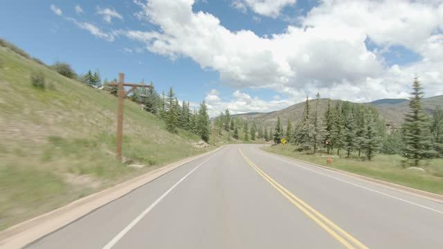 beaver creek ski resort 6 synced series rear summer driving - number 6 stock videos & royalty-free footage