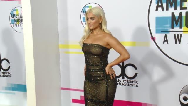 bebe rexha at 2017 american music awards on november 19 2017 in los angeles california - american music awards stock videos & royalty-free footage